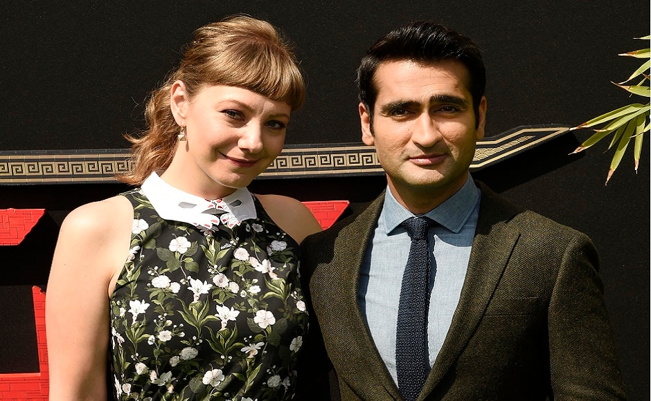 Kumail Nanjiani (right) a cast member in the film, poses with his wife Emily V Gordon at the premiere. Photo courtesy: AP/Chris Pizzello