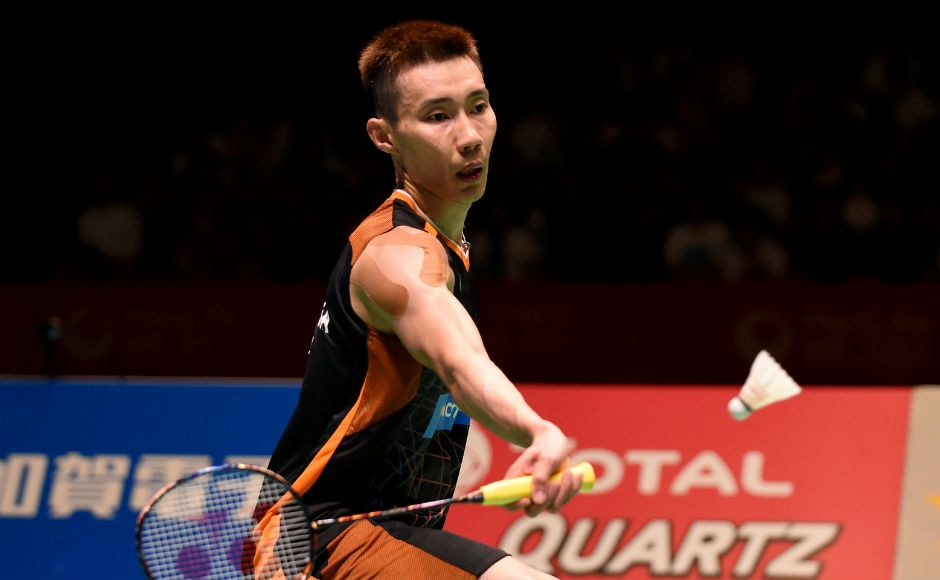 Lee Chong Wei of Malaysia hits a return against Viktor Axelsen in the final of the men's singles. AFP