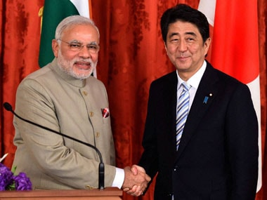File image of Prime Minister Narendra Modi and with his Japanese counterpart Shinzo Abe. PTI