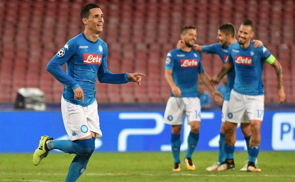 Dries Mertens, Lorenzo Insigne & Jose Callejon were on target for Napoli as they beat Feyenoord 3-1. Image courtesy: Twitter @sscnapoli