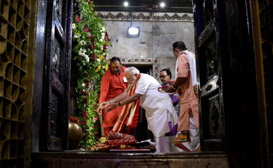 Modi also visited the Durga Mata Temple in Varanasi and offered special prayers on the second day of Navratri. PTI