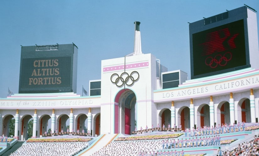 Olympic Torch Tower of the Los Angeles Coliseum on the day of the opening ceremonies of the 1984 Summer Olympics. Image courtesy: Wikimedia Commons