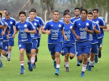 The Paraguayan team during a training session