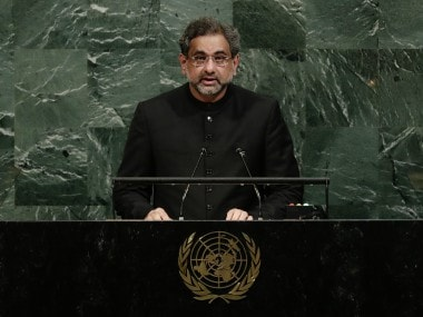 Pakistans Shahid Khaqan Abbasi at UNGA says wont be scapegoat in Afghan war, expresses concern over US onus