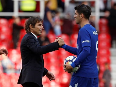 "Soccer Football - Premier League - Stoke City vs Chelsea - bet365 Stadium, Stoke-On-Trent, Britain - September 23, 2017 Chelsea manager Antonio Conte shakes hands with Chelsea's Alvaro Morata after the match Action Images via Reuters/Craig Brough EDITORIAL USE ONLY. No use with unauthorized audio, video, data, fixture lists, club/league logos or ""live"" services. Online in-match use limited to 75 images, no video emulation. No use in betting, games or single club/league/player publications. Please contact your account representative for further details. - RC1704460870"