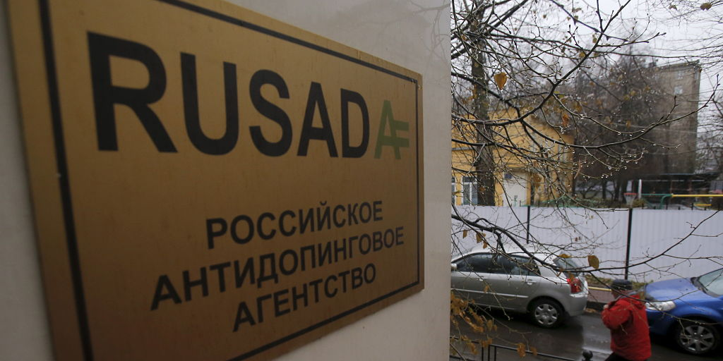 A man walks outside an office of the Russian Anti-Doping Agency (RUSADA) in Moscow, Russia, November 10, 2015. A Moscow laboratory used for doping tests has stopped operating after it was closed by the World Anti-Doping Agency, the head of the Russian Anti-Doping Agency Nikita Kamaev said on Tuesday. REUTERS/Maxim Shemetov - GF20000053169