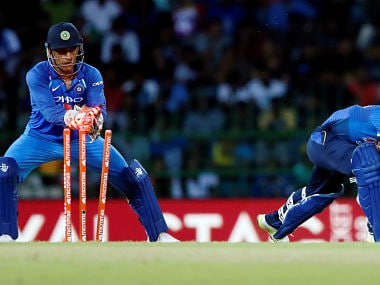 India's MS Dhoni stumped Sri Lanka's Akila Dananjaya to become the first wicketkeeper to effect 100 stumpings. Reuters