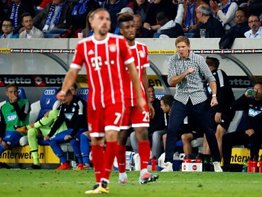 Soccer Football - Bundesliga - Hoffenheim v Bayern Munich - Sinsheim, Germany - September 9, 2017 Hoffenheim coach Julian Nagelsmann REUTERS/Kai Pfaffenbach DFL RULES TO LIMIT THE ONLINE USAGE DURING MATCH TIME TO 15 PICTURES PER GAME. IMAGE SEQUENCES TO SIMULATE VIDEO IS NOT ALLOWED AT ANY TIME. FOR FURTHER QUERIES PLEASE CONTACT DFL DIRECTLY AT + 49 69 650050 - RC15A772E480