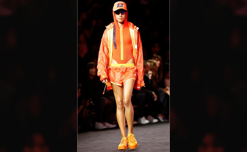 Held at the Park Avenue Armory in New York; Rihanna's fashion show saw quirky colour combinations and sunglasses acting asaccessories in abundance. Image from AP.