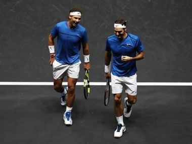 Roger Federer and Rafael Nadal during their doubles match at the Laver Cup. Getty