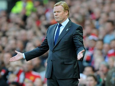 Everton manager Ronald Koeman gestures during the Premier League match against Manchester United. AP