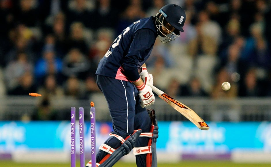 Chopped on! Joe Root dragged one onto his sticks which brought an end to a brilliant partnership between him and Jonny Bairstow. AP