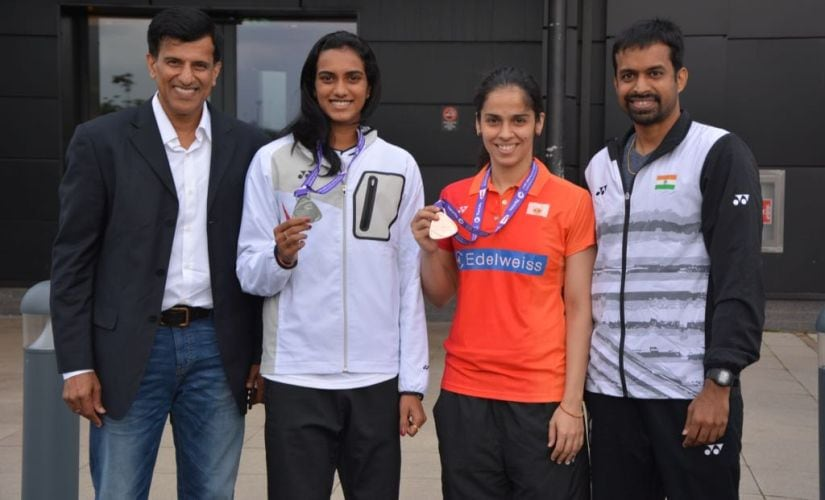 Vimal Kumar, PV Sindhu, Saina Nehwal and Pullela Gopichand at Glasgow after the recently-concluded World Championships.