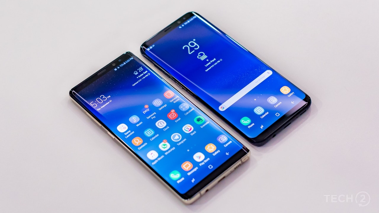 The Samsung Galaxy Note 8 alongside the Galaxy S8+