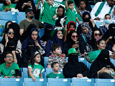 Saudi Arabia allows women to enter sports stadium for the 1st time to mark countrys national day