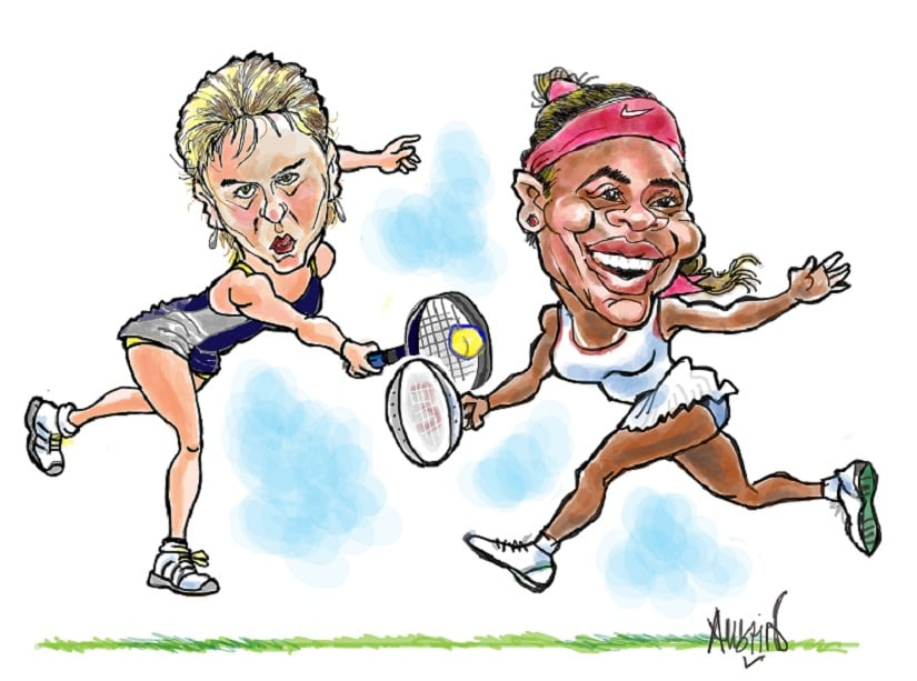 Maria Sharapova has written about her rivalry with Serena Williams in her new book, Unstoppable. Illustration courtesy Austin Coutinho
