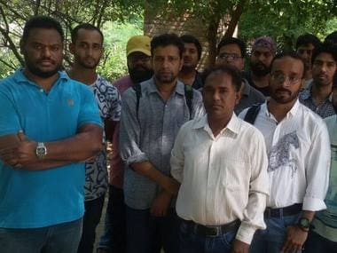 Some of the 147 technicians who claim to have been left in the lurch after the Dera chief's rape conviction.