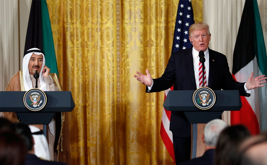 President Donald Trump, joined by the Emir of Kuwait Sheikh Sabah Al Ahmad Al Sabah, addressed a press conference in the East Room of the White House in Washington on Thursday. Kuwait, a staunch US ally, is trying to mediate a diplomatic crisis involving Qatar and its Arab neighbours. AP