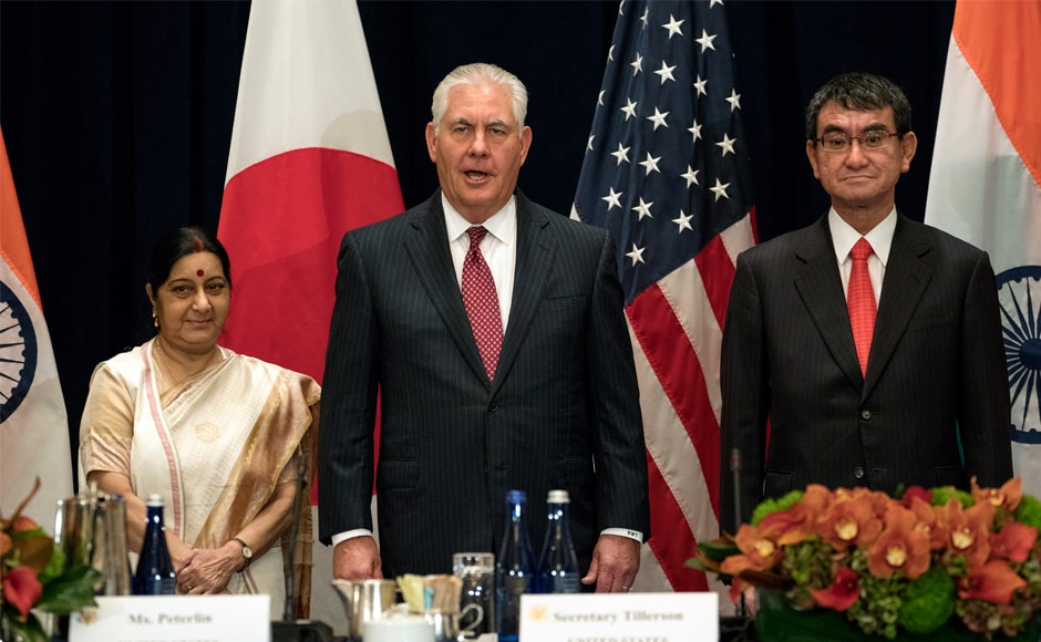 Indian external affairs minister Sushma Swaraj at a trilateral meet with US secretary of state Rex Tillerson and Japanese foreign minister Taro Kono to discuss increased cooperation between the three countries. Swaraj will also be part of a high-level meet on UN reforms chaired by US president Donald Trump. AP