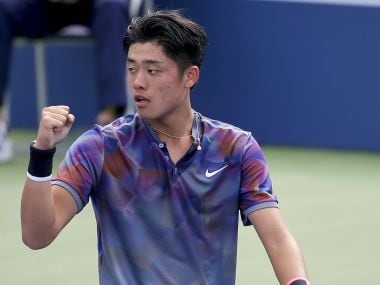 Wu Yibing reacts after beating Axel Geller during the boys singles final of the US Open. AP