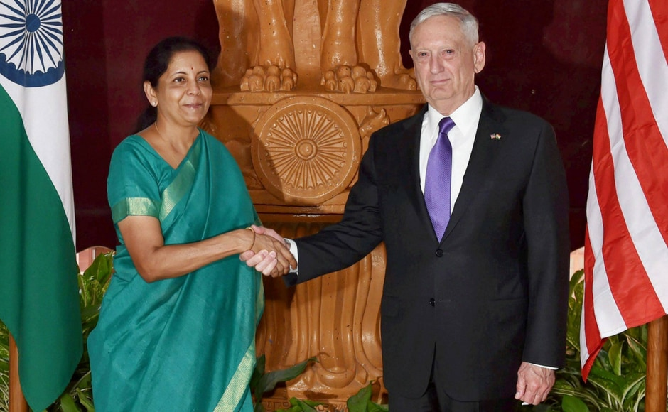 Defence Minister Nirmala Sitharaman and US defence secretary Jim Mattis shake hands prior to a meeting at South Block in New Delhi on Tuesday. PTI