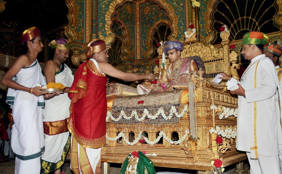 During these 9 days, devotees worship nine different avatars of Goddess Durga. Priests perform rituals as the scion of the Mysore royal family, Yaduveer Krishnadatta Chamaraja Wadiyar holds private durbar at Mysuru Palace. PTI