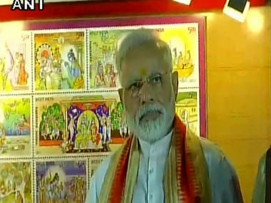 File image of Prime Minister Narendra Modi after releasing the stamps. Twitter @ANI