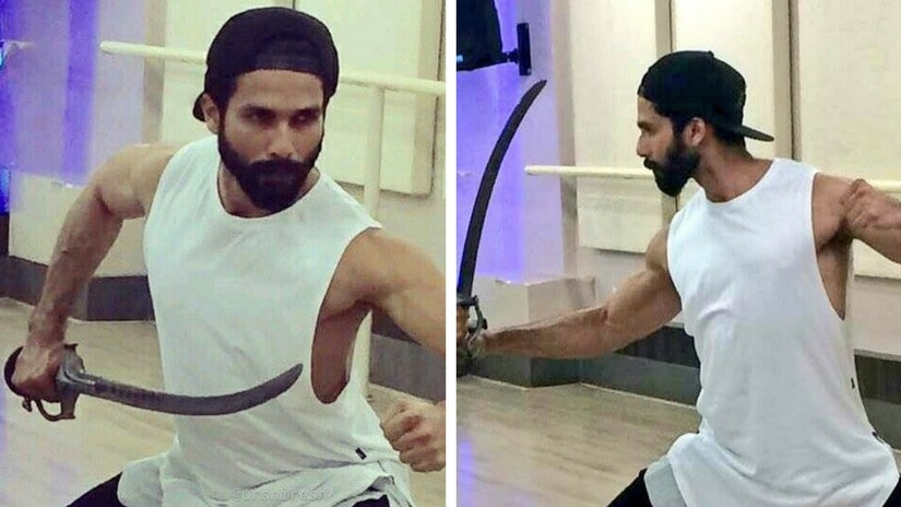 Shahid Kapoor practising sword-fighting. Picture courtesy: Facebook/ Shahid Kapoor Fan Club