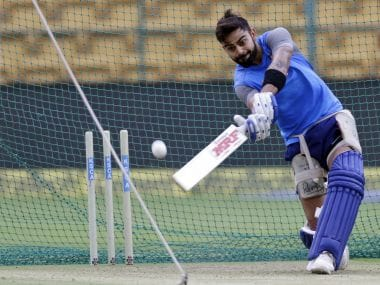 India captain Virat Kohli bats during a practice session in Bengaluru on Wednesday. AP