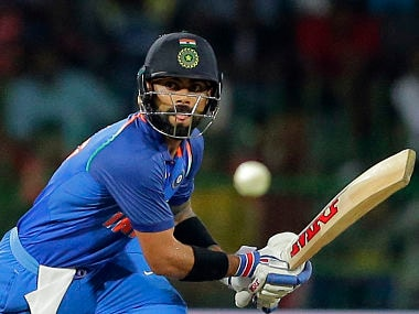 India's captain Virat Kohli plays a shot during their fifth and last one-day international cricket match against Sri Lanka. AP