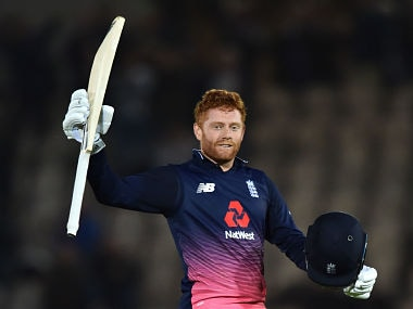 England's Jonny Bairstow celebrates his century during the final One-Day International (ODI) cricket match between England and the West Indies at the Ageas Bowl in Southampton, southern England on September 29, 2017. / AFP PHOTO / Glyn KIRK / RESTRICTED TO EDITORIAL USE. NO ASSOCIATION WITH DIRECT COMPETITOR OF SPONSOR, PARTNER, OR SUPPLIER OF THE ECB
