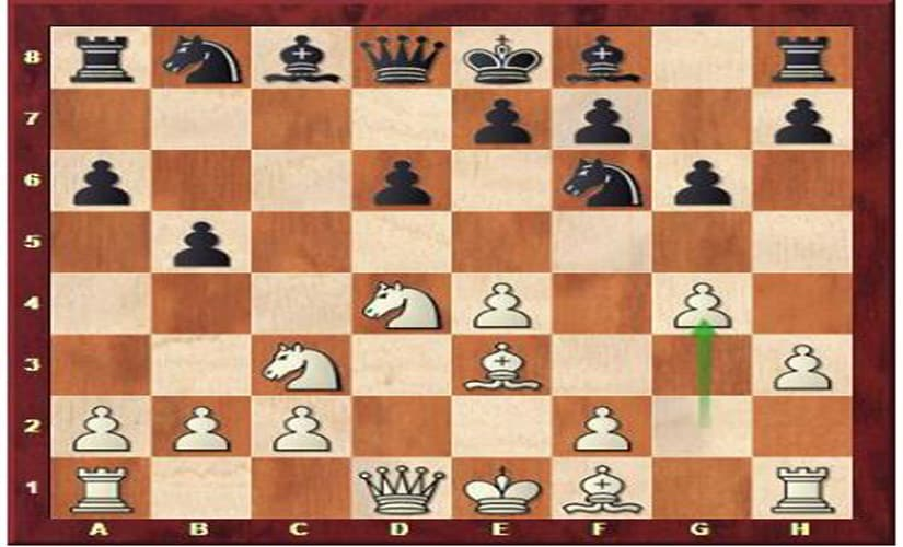 In this position, Harika came up with the novelty 8. g4 (marked with the green arrow).