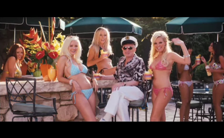 Hugh Hefner in The House Bunny, which saw Anna Faris play a playmate bunny. YouTube screengrab.