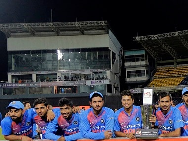 The victorious Indian team that beat Sri Lanka 5-0 in the ODI series. AP