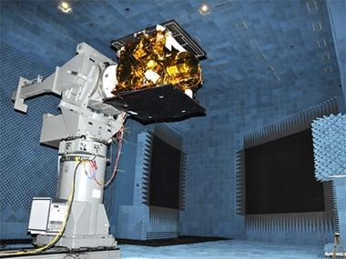 The IRNSS-1C undergoing a vibration test. Image: ISRO.