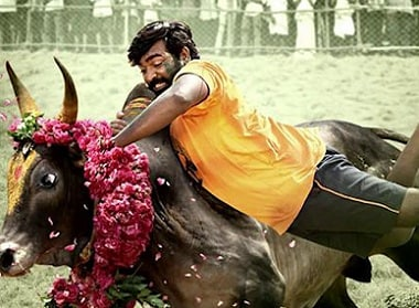 Vijay Sethupathi in a still from Karuppan. Image courtesy YouTube