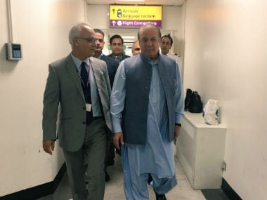 Nawaz Sharif just before boarding his flight for Pakistan. Twitter @pmln_org