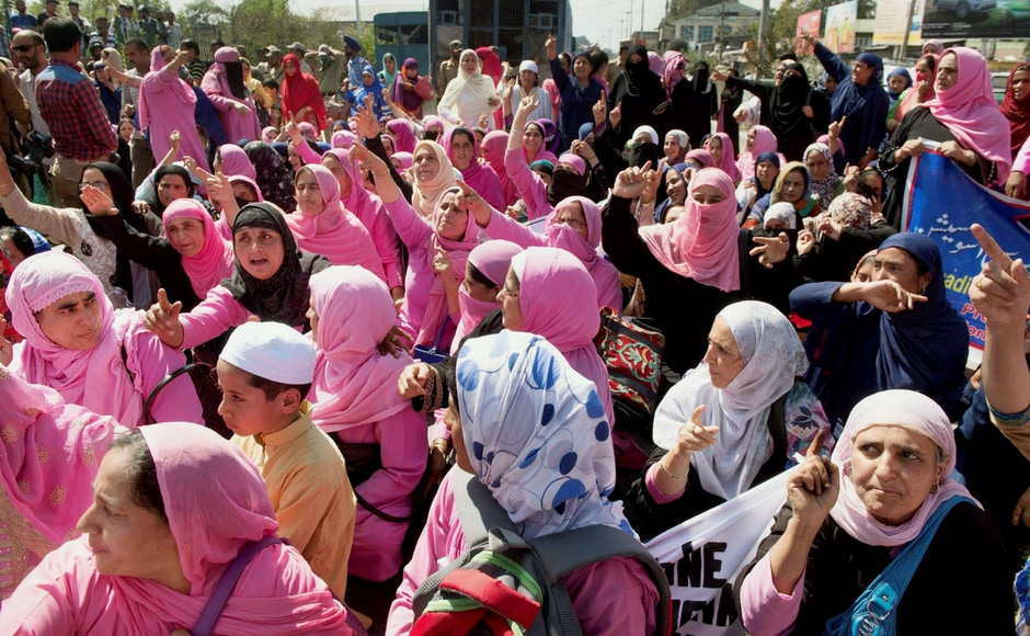 Anganwadi workers gather for a protest in Srinagar. PTI