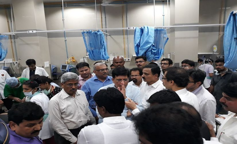 Railway minister Piyush Goyal visited KEM hospital later in the day. Sanjay Sawant/Firstpost