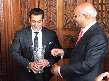 Salman Khan receives Global Diversity Award at Britain's House of Commons for art, philanthropy contributions