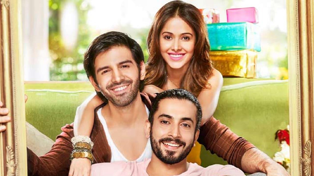 Kartik Aaryan, Nushrat Bharucha and Sunny Singh in a promotional still of Sonu Ke Titu Ki Sweety. Twitter@TheAaryanKartik