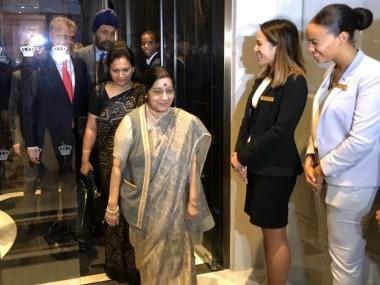 Sushma Swaraj arrives in New York on Monday. Twitter@IndianEmbassyUS
