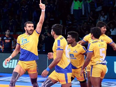 Ajay Thakur and C Arun starred for Tamil Thalaivas. Image courtesy: Pro Kabaddi website.