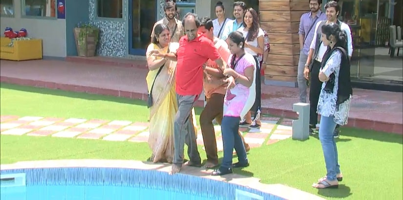 Vaiyapuri's family pushes him into the pool for violating Bigg Boss' rule