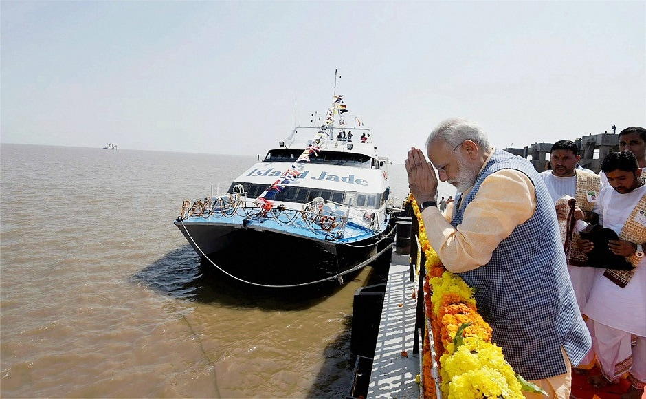 Prime Minister Narendra Modi on Sunday inaugurated the first phase of the roll-on roll-off (Ro-Ro) ferry service connecting Saurashtra with south Gujarat, amid a political row over the delay in announcement of poll dates for the state. PTI