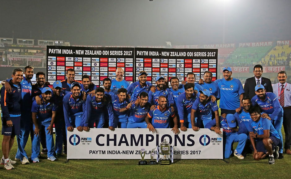 The Indian team completed their seventh bilateral series win after beating New Zealand 2-1, edging the Black Caps by just six runs in a nail-biting decider at Green Park stadium, Kanpur. AP