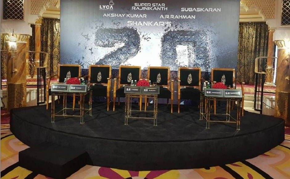 The stage is all set for the stars to arrive for 2.0 press meet in Dubai. Image courtesy: Twitter