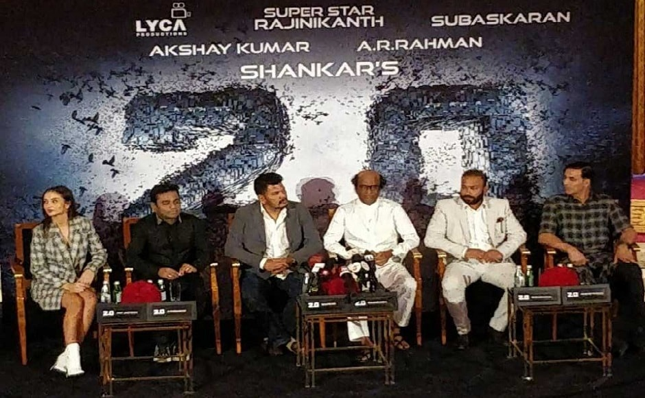 From left: Amy Jackson, AR Rahman, Shankar, Rajinikanth, Subaskaran and Akshay Kumar. Image courtesy: Twitter
