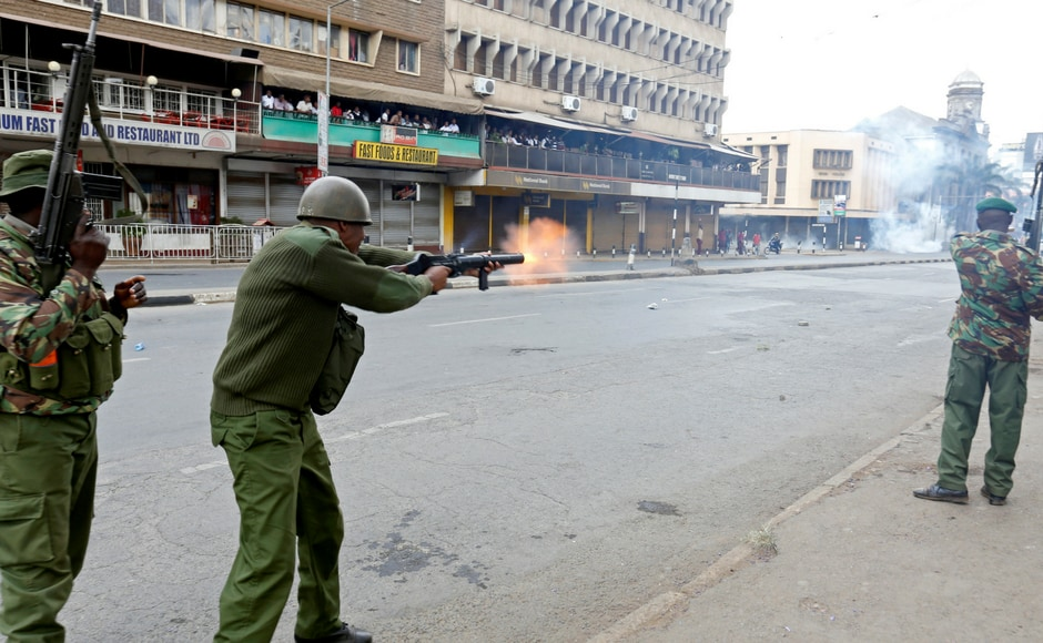 Police started firing tear gas on the Opposition protesters who are against the new law which says if one candidate withdraws, the other automatically wins the presidency. Reuters