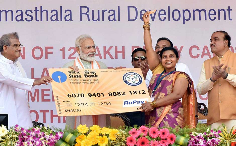 The prime minister then addressed a public rally at Ujire, a small town near the west coast, near Dharmasthala. He also handed over RuPay cards to some Pradhan Mantri Jan Dhan Yojana (PMJDY) account holders. PIB